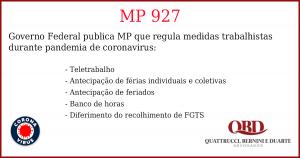 Imagem com resumo dos principais tópicos da MP 927